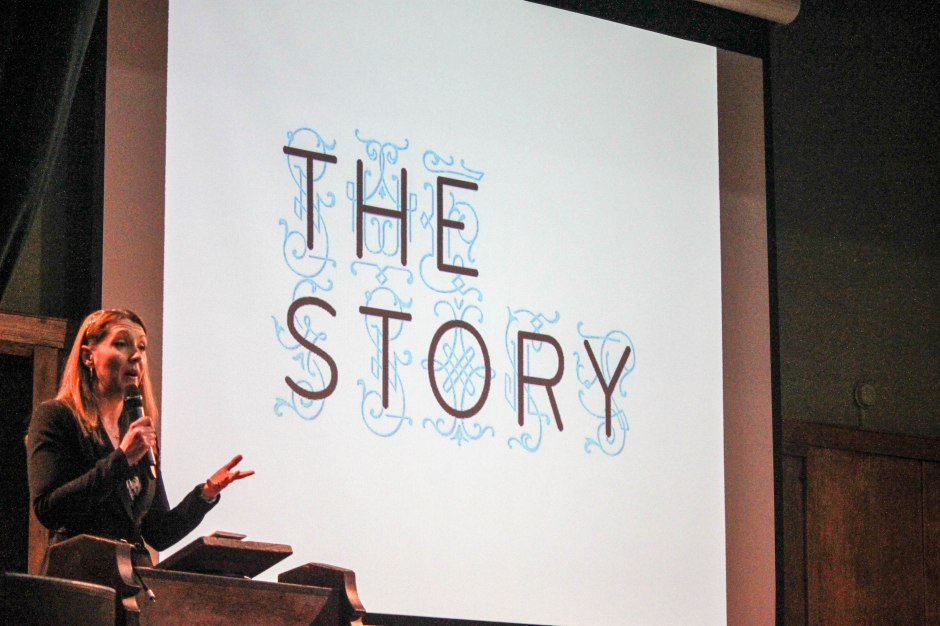Anna Rafferty welcomes everyone to The Story 2015