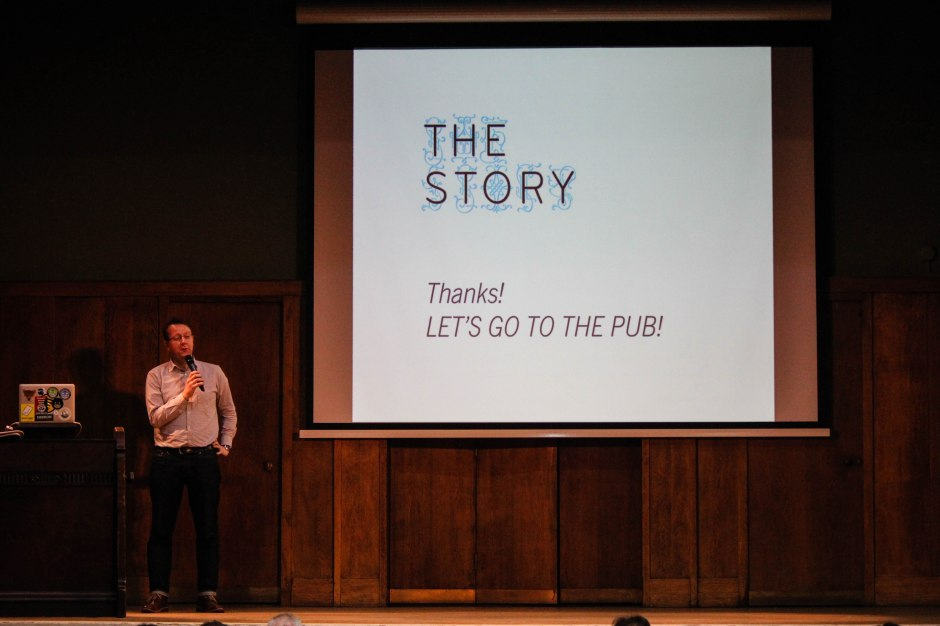 Matt Locke thanks everyone involved in The Story 2015, before going for a well-earned drink